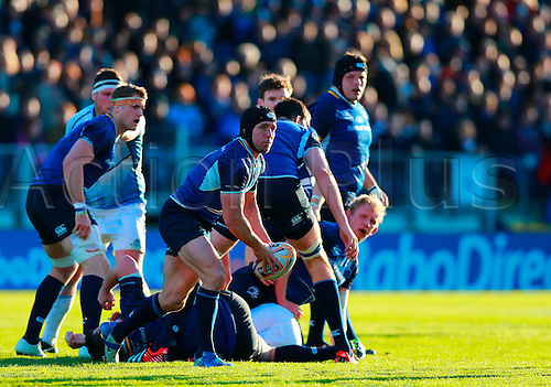 11.05.2013 Dublin, Ireland. Isaac Boss (Leinster) releases the ball from a ruck during the RaboDirect PRO12 Semi Final game between Leinster and Glasgow Warriors from the Royal Dublin Society.