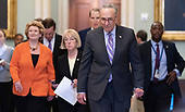 United States Senate Minority Leader Chuck Schumer (Democrat of New York) leads a group of Democrats to speak to the media Capitol Hill in Washington, DC, May 14, 2019. Credit: Chris Kleponis / CNP