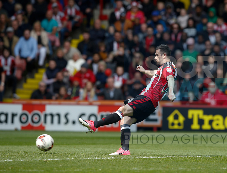 Danny Lafferty of Sheffield Utd scores the third goal during the English League One match at  Bramall Lane Stadium, Sheffield. Picture date: April 30th 2017. Pic credit should read: Simon Bellis/Sportimage