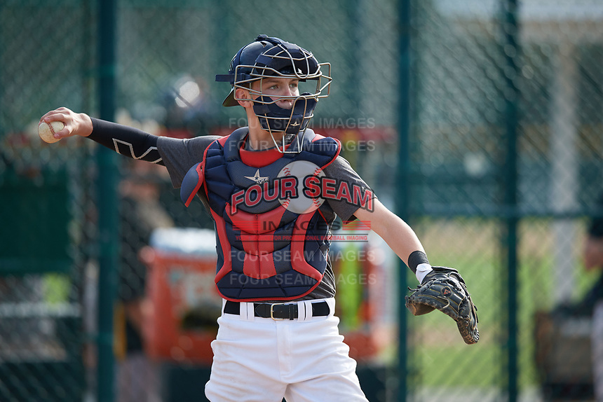 Ben Croteau (58), from Bedford, Massachusetts, while playing for the Giants during the Baseball Factory Pirate City Christmas Camp & Tournament on December 28, 2017 at Pirate City in Bradenton, Florida.  (Mike Janes/Four Seam Images)