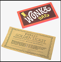 BNPS.co.uk (01202 558833)<br /> Pic: CatherineSouthon/BNPS<br /> <br /> The Golden Ticket and the Wonka Bar.<br /> <br /> One of the five golden tickets used in the film Willy Wonka & The Chocolate Factory has sold for just over £16,000.<br /> <br /> The shiny slip of foil paper was the one English brat Veruca Salt 'found' after her wealthy father got his factory work-force to open thousands of Wonka chocolate bars.<br /> <br /> After filming had finished actress Julie Dawn Cole, who played selfish Veruca in the 1971 movie, kept hold of the 5ins by 7ins golden ticket.<br />  <br /> Julie later gifted it and a fake Wonka chocolate bar to her friend Lindy Sellers.