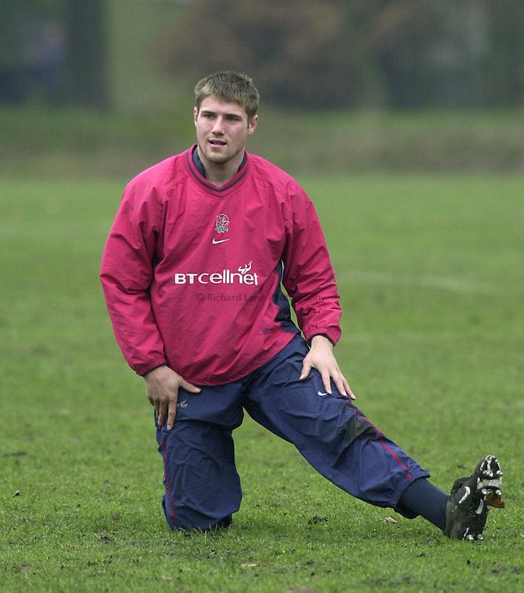 Photo:Ken Brown .28.2.2001 England Rugby Squad training at Sandhurst.winger Ben Cohen