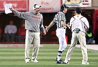 Nebraska head coach Bo Pelini voices his opinion on a call late in Saturday's game at Memorial Stadium in Lincoln, Neb. Nebraska defeated No. 20 Oklahoma 10-3