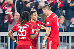 03.11.2018, Allianz Arena, Muenchen, GER, 1.FBL,  FC Bayern Muenchen vs. SC Freiburg, DFL regulations prohibit any use of photographs as image sequences and/or quasi-video, im Bild Jubel nach dem Tor zum 1-0 durch Serge Gnabry (FCB #22) mit Renato Sanches (FCB #35) Niklas Suele (FCB #4) <br /> <br />  Foto &copy; nordphoto / Straubmeier