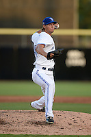 Dunedin Blue Jays pitcher Matt Dermody (44) delivers a pitch during a game against the Brevard County Manatees on April 23, 2015 at Florida Auto Exchange Stadium in Dunedin, Florida.  Brevard County defeated Dunedin 10-6.  (Mike Janes/Four Seam Images)