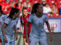FRISCO, TX - MARCH 11: Alessia Russo #19 of England looks to the ball during a game between England and Spain at Toyota Stadium on March 11, 2020 in Frisco, Texas.