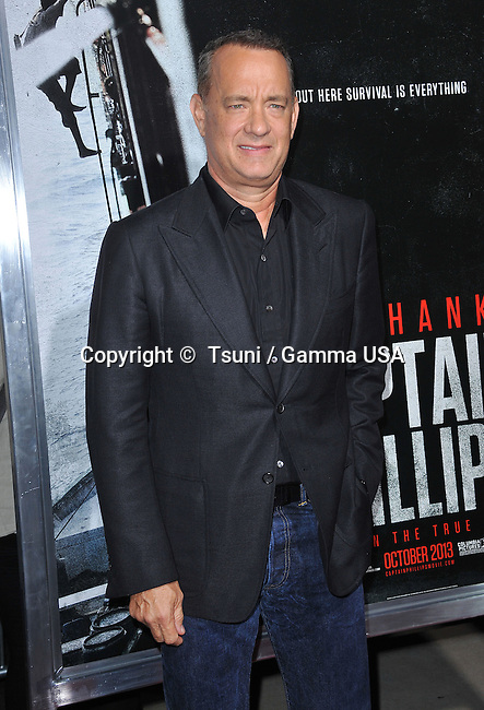 Tom hanks  arriving at The Captain Phillips Premiere at the Academy Of Motion Pictures in Los Angeles.