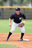 GCL Yankees 1 second baseman Ryan Lindemuth (2) waits for a throw during the second game of a doubleheader against the GCL Braves on July 1, 2014 at the Yankees Minor League Complex in Tampa, Florida.  GCL Braves defeated the GCL Yankees 1 by a score of 3-1.  (Mike Janes/Four Seam Images)