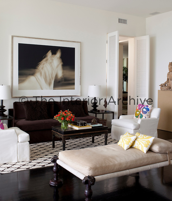A photograph by Michael Eastman in the living room hangs above a brown velvet sofa, which is paired with an Indian daybed and a pair of comfortable armchairs