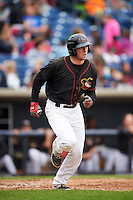 Quad Cities River Bandits first baseman Connor Goedert (8) runs to first after hitting a home run during a game against the Burlington Bees on May 9, 2016 at Modern Woodmen Park in Davenport, Iowa.  Quad Cities defeated Burlington 12-4.  (Mike Janes/Four Seam Images)