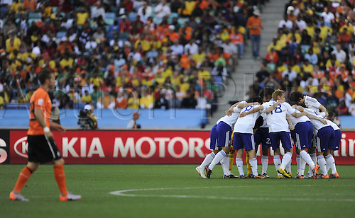 19-06-2010 Japanese Players encourage each OTHER Before The Start of their 2010 World Cup Group E Soccer Match Against Netherlands at Moses Mabhida stadium in Durban South Africa on June 19 2010