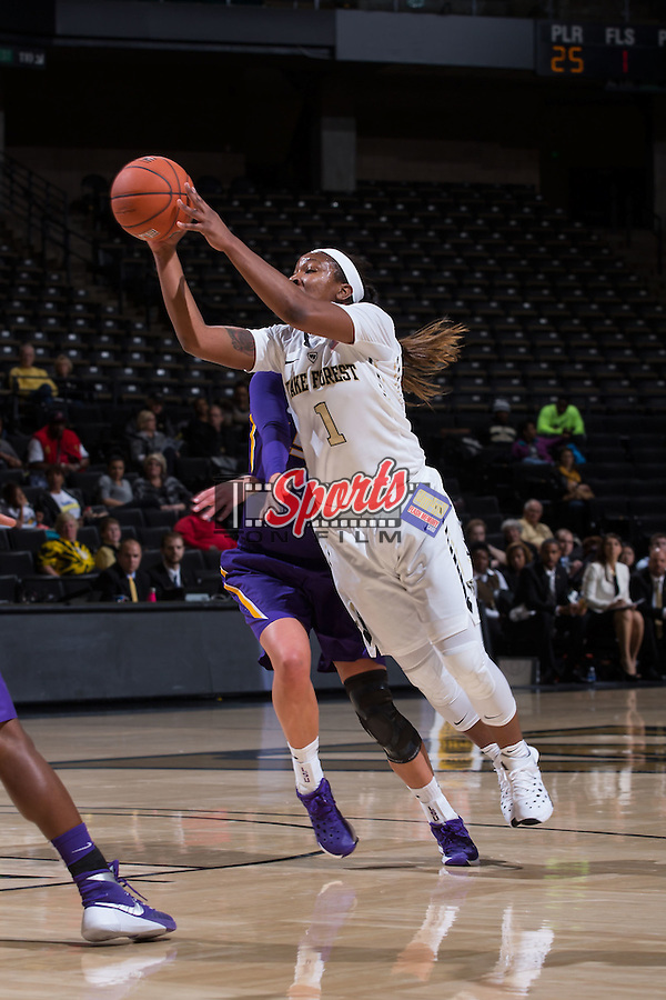 Destini Walker (1) of the Wake Forest Demon Deacons during first half action against the LSU Tigers at the LJVM Coliseum on November 13, 2015 in Winston-Salem, North Carolina.  The Demon Deacons defeated the Tigers 60-57.  (Brian Westerholt/Sports On Film)