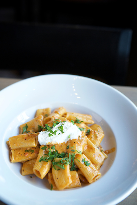Queens, NY - July 9, 2017:  Rigatoni in Vodka Sauce with whipped Ricotta at Allora Italian Kitchen and Bar in Bayside.<br /><br />Credit: Clay Williams for Edible Queens.
