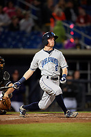 Lake County Captains center fielder Conner Capel (8) follows through on a swing during a game against the Quad Cities River Bandits on May 6, 2017 at Modern Woodmen Park in Davenport, Iowa.  Lake County defeated Quad Cities 13-3.  (Mike Janes/Four Seam Images)