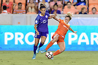 Houston, TX - Saturday June 17, 2017: Camille Levin attempts to strip the ball from Kristen Edmonds  during a regular season National Women's Soccer League (NWSL) match between the Houston Dash and the Orlando Pride at BBVA Compass Stadium.