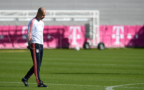 22.02.2016. Munich, Germany.  Munich's head coach Pep Guardiola walks across the pitch during the final training session in Munich, Germany, 22 February 2016. Munich will meet Juventus Turin in the round of the last sixteen Champions League match on 23 February 2016.