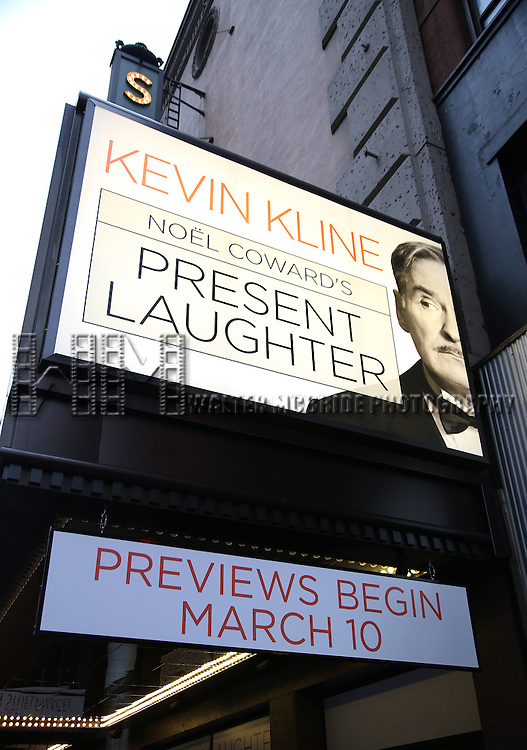 Theatre Marquee unveiling for 'Present Laughter' starring Kevin Kline at St. James Theatre on January 19, 2017 in New York City.