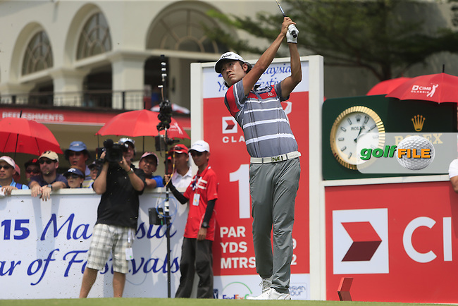 Kevin Na (USA) on the 15th tee during Round 4 of the CIMB Classic in the Kuala Lumpur Golf &amp; Country Club on Sunday 2nd November 2014.<br /> Picture:  Thos Caffrey / www.golffile.ie