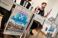 """Pressekonferenz des Aktionsbuendnis """"Ende Gelaende"""" zum Klimacamp in der Lausitz und der geplanten Blockade des Braunkohletagebau in der brandenburgischen Lausitz.<br /> Die Aktivisten erwarten bis zu 4.000 Menschen aus ganz Europa, die sich an den geplanten Blockaden des Tagebau vom 13. bis 16. Mai 2016 und einer Grossdemonstration am 14. Mai in Welzow beteiligen wollen.<br /> Das Buendnis """"Ende Gelaende"""" fordert den Ausstieg aus der Kohle und den Umstieg auf Erneuerbare Energie.<br /> 11.5.2016, Berlin<br /> Copyright: Christian-Ditsch.de<br /> [Inhaltsveraendernde Manipulation des Fotos nur nach ausdruecklicher Genehmigung des Fotografen. Vereinbarungen ueber Abtretung von Persoenlichkeitsrechten/Model Release der abgebildeten Person/Personen liegen nicht vor. NO MODEL RELEASE! Nur fuer Redaktionelle Zwecke. Don't publish without copyright Christian-Ditsch.de, Veroeffentlichung nur mit Fotografennennung, sowie gegen Honorar, MwSt. und Beleg. Konto: I N G - D i B a, IBAN DE58500105175400192269, BIC INGDDEFFXXX, Kontakt: post@christian-ditsch.de<br /> Bei der Bearbeitung der Dateiinformationen darf die Urheberkennzeichnung in den EXIF- und  IPTC-Daten nicht entfernt werden, diese sind in digitalen Medien nach §95c UrhG rechtlich geschuetzt. Der Urhebervermerk wird gemaess §13 UrhG verlangt.]"""