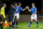 St Johnstone v St Mirren...20.09.11   Scottish Communities League Cup Third Round.Frazer Wright goes off injured replaced by David McCracken.Picture by Graeme Hart..Copyright Perthshire Picture Agency.Tel: 01738 623350  Mobile: 07990 594431