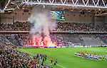 Stockholm 2015-07-27 Fotboll Allsvenskan Hammarby IF - IFK Norrk&ouml;ping :  <br /> Norrk&ouml;pings supportrar br&auml;nner bengaler p&aring; Tele2 Arena inf&ouml;r matchen mellan Hammarby IF och IFK Norrk&ouml;ping <br /> (Foto: Kenta J&ouml;nsson) Nyckelord:  Fotboll Allsvenskan Tele2 Arena Hammarby HIF Bajen IFK Norrk&ouml;ping supporter fans publik supporters bengaler tifo bengal