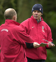 12/02/2004 Six Nations Rugby England Training- Pennyhill Park- Bagshot.Sir Clive Woodwood [right] chat's with Andy Robinson, during the morning training session..   [Mandatory Credit, Peter Spurier/ Intersport Images].