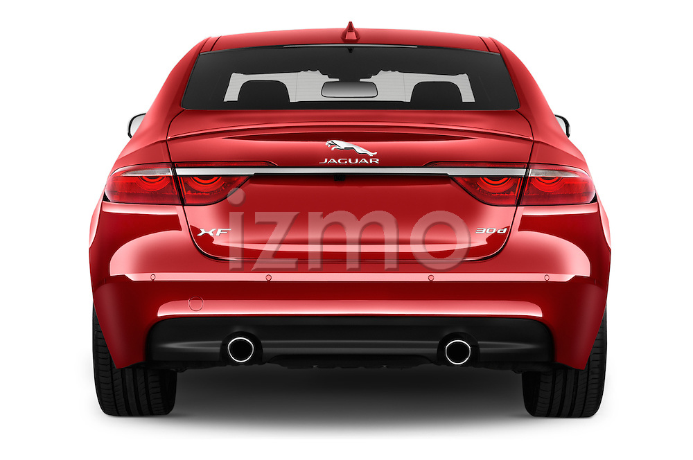 Straight rear view of 2017 Jaguar XF 35t-R-Sport 4 Door Sedan Rear View  stock images