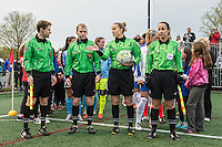 Allston, MA - Saturday, May 07, 2016: Officials Tom Felice, Scott McGrail, Margaret Domka, and Amanda Ross before a regular season National Women's Soccer League (NWSL) match at Jordan Field.