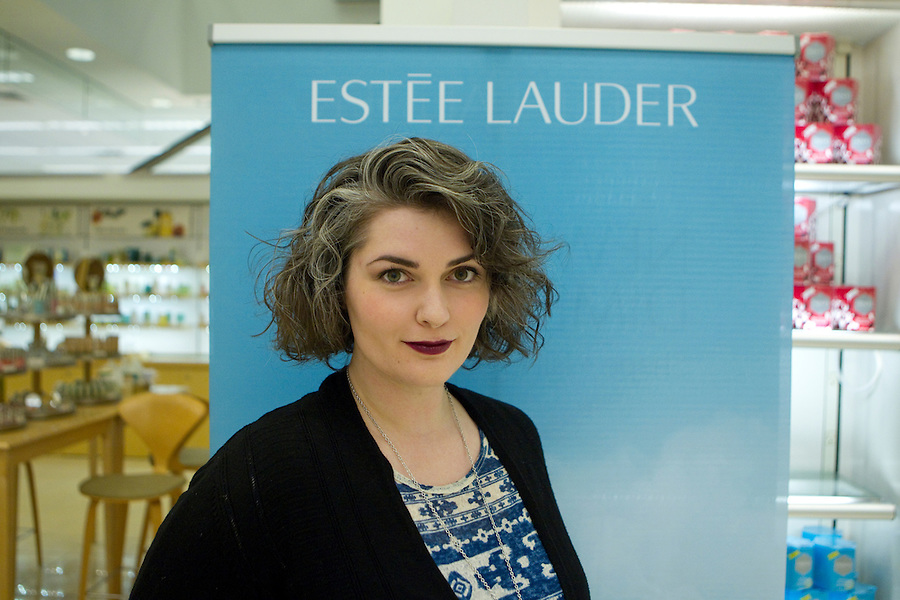 People with Estee Lauder make-up in Vancouver Washington, August 29, 2015.