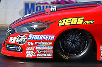 Feb 12, 2016; Pomona, CA, USA; Detailed view of the front end and hood on the car of NHRA pro stock driver Erica Enders-Stevens during qualifying for the Winternationals at Auto Club Raceway at Pomona. Mandatory Credit: Mark J. Rebilas-USA TODAY Sports