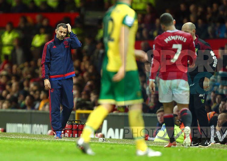 Ryan Giggs, assistant manager of Manchester United left scratching his head - Manchester United vs Norwich City - Barclays Premier League - Old Trafford - Manchester - 19/12/2015 Pic Philip Oldham/SportImage