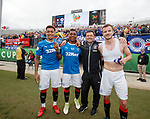 Goalscorers James Tavernier, Alfredo Morelos and Andy Halliday with manager Graeme Murty