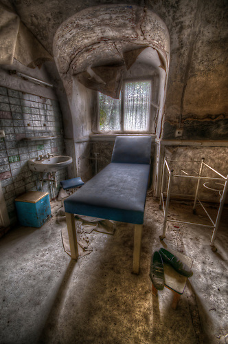 Examination room in a small hospital.
