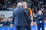 Fenerbahce Dogus coach Zeljko Obradovic talking with the referee  during Turkish Airlines Euroleague match between Real Madrid and Fenerbahce Dogus at Wizink Center in Madrid , Spain. March 02, 2018. (ALTERPHOTOS/Borja B.Hojas)