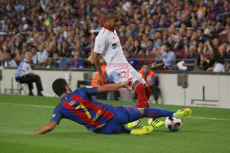 League Santander 2016/2017.<br /> Supercopa de Espa&ntilde;a - Vuelta.<br /> FC Barcelona vs Sevilla FC: 3-0.<br /> Arda Turan vs Ferreira.