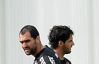 SÃO PAULO,SP, 27 Junho 2013 -  Danilo e Pato  durante treino do Corinthians no CT Joaquim Grava na zona leste de Sao Paulo, onde o time se prepara  para para enfrenta o Sao Paulo pelas finais da Recopa . FOTO ALAN MORICI - BRAZIL FOTO PRESS