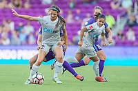 Orlando, FL - Sunday May 14, 2017: Ashley Hatch, Debinha during a regular season National Women's Soccer League (NWSL) match between the Orlando Pride and the North Carolina Courage at Orlando City Stadium.