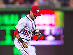 20 September 2013: Washington Nationals shortstop Ian Desmond grabs a line drive, with the ball ending up wedged in his glove webbing, during game action against the Miami Marlins at Nationals Park in Washington, DC. The Nationals defeated the Marlins 8-0 to take the second game of their 4-game series. Mandatory Credit: Ed Wolfstein Photo *** RAW (NEF) Image File Available ***