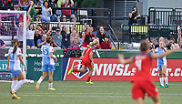 Portland, OR - Saturday August 19, 2017: Lindsey Horan scores a goal during a regular season National Women's Soccer League (NWSL) match between the Portland Thorns FC and the Houston Dash at Providence Park.