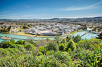 View of Gisborne city centre from town lookout. North Island New Zealand.