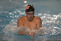 Feb 22, 2015; Whittier, CA, USA; Alex Rand of Occidental College competes in the 200-yard breaststroke at the SCIAC swimming championships at Whittier College. Photo by Kirby Lee