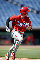 Philadelphia Phillies left fielder Ben Akilinski (25) runs to first base during a Florida Instructional League game against the Toronto Blue Jays on September 24, 2018 at Spectrum Field in Clearwater, Florida.  (Mike Janes/Four Seam Images)