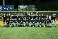 The Wake Forest Demon Deacons pose for a team photo after eliminating the West Virginia Mountaineers in Game Six of the Winston-Salem Regional in the 2017 College World Series at David F. Couch Ballpark on June 4, 2017 in Winston-Salem, North Carolina.  The Demon Deacons defeated the Mountaineers 12-8.  (Brian Westerholt/Four Seam Images)