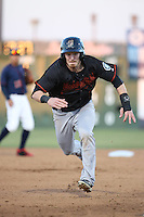 Brock Hebert (1) of the Bakersfield Blaze runs the bases during a game against the Lancaster JetHawks at The Hanger on April 28, 2016 in Lancaster, California. Lancaster defeated Bakersfield, 5-4. (Larry Goren/Four Seam Images)