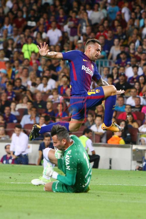 52e Trofeu Joan Gamper.<br /> FC Barcelona vs Chapecoense: 5-0.<br /> Artur Moraes vs Paco Alcacer.