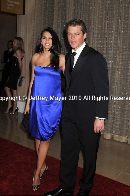 BEVERLY HILLS, CA. - March 27: Matt Damon (R) and wife Luciana Barroso attend the American Cinematheque 24th Annual Award Presentation To Matt Damon at The Beverly Hilton Hotel on March 27, 2010 in Beverly Hills, California.