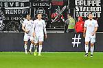 06.10.2019, Commerzbankarena, Frankfurt, GER, 1. FBL, Eintracht Frankfurt vs. SV Werder Bremen, <br /> <br /> DFL REGULATIONS PROHIBIT ANY USE OF PHOTOGRAPHS AS IMAGE SEQUENCES AND/OR QUASI-VIDEO.<br /> <br /> im Bild: Frust bei Christian Groß / Gross (SV Werder Bremen #36), Maximilian Eggestein (#35, SV Werder Bremen), Philipp Bargfrede (#44, SV Werder Bremen)<br /> <br /> Foto © nordphoto / Fabisch