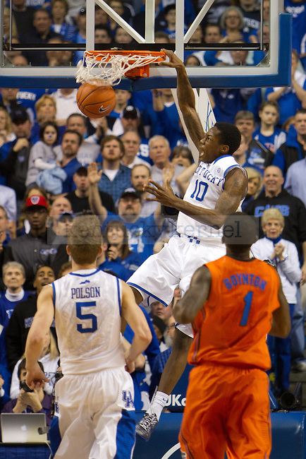 Freshman G Archie Goodwin takes a forceful dunk during the UK vs Florida Men's basketball game in Lexington, Ky., on Saturday, March 9, 2013. Photo by Matt Burns | Staff
