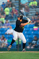 Justin Yurchak (33) of the Great Falls Voyagers at bat against the Helena Brewers at Centene Stadium on August 18, 2017 in Helena, Montana.  The Voyagers defeated the Brewers 10-7.  (Brian Westerholt/Four Seam Images)