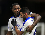 Leicester City's Riyad Mahrez celebrates scoring his sides opening goal with Wes Morgan<br /> <br /> - English Premier League - Watford vs Leicester City  - Vicarage Road - London - England - 5th March 2016 - Pic David Klein/Sportimage
